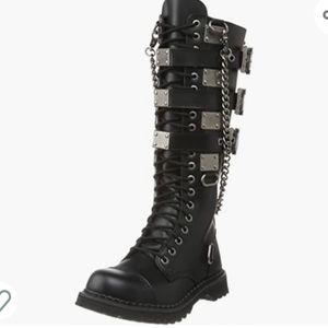 Demonia blk leather Gothic combat boots